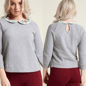 Modcloth Gray Sweatshirt With Embroidered Collar